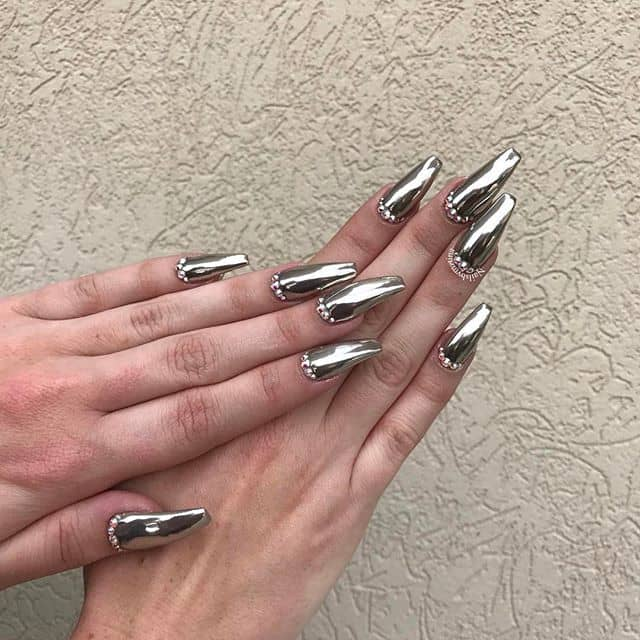 Metallic Silver Nails with Cubicle Gemstones