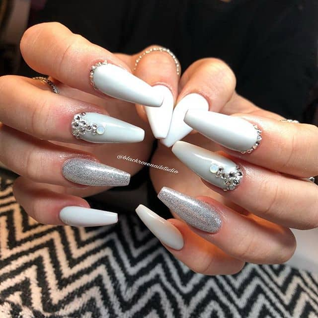 Long Jeweled Silver Nails and Gemstones