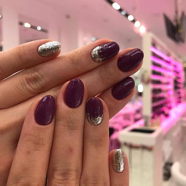 Short Round Tipped Maroon and Silver Nails