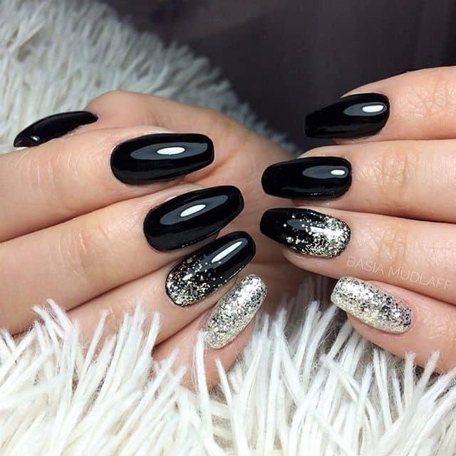 Glossy Black and Silver Nail Ideas