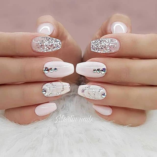 Light Pink Silver Glitter Gemstone Nails