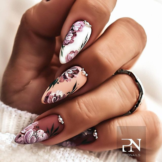 French Floral Stiletto Nails