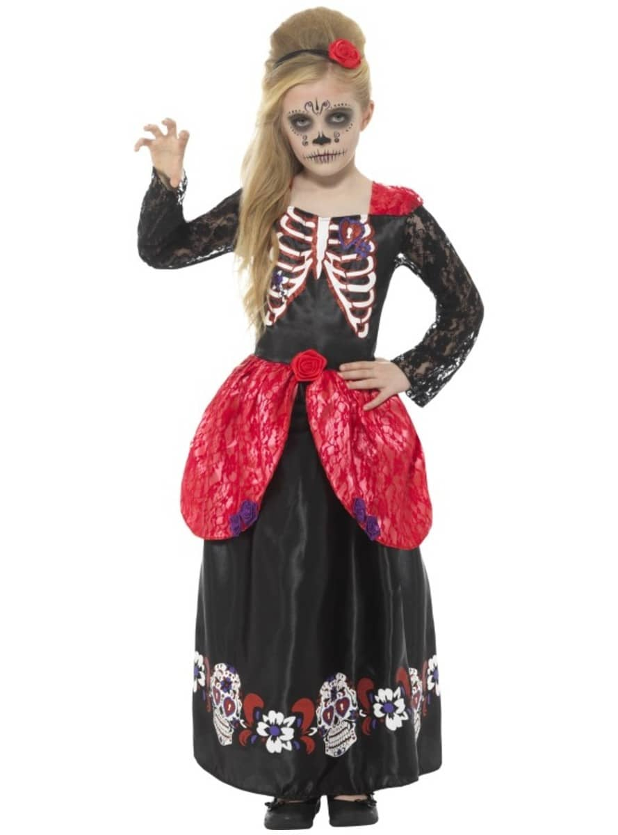 HALLOWEEN DAY OF THE DEAD LADY OUTFIT RAINBOW FANCY DRESS COSTUME SUGAR SKULL