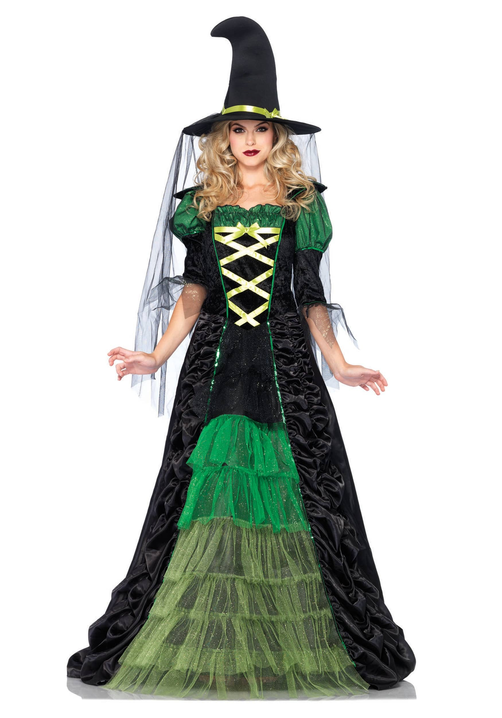 Green Witches Women Fancy Dress Halloween Fairytale Creepy Spooky Scary Costumes