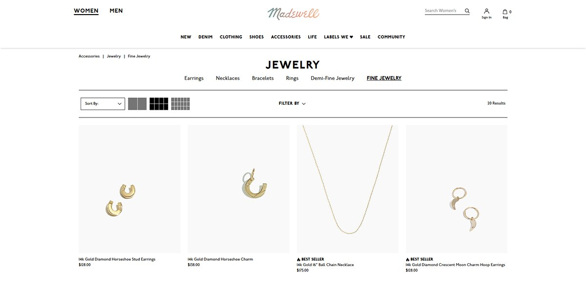 Madewell Online Jewelry Store