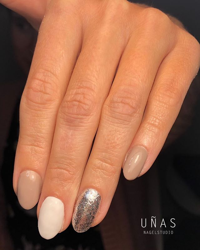 Coffee-Colored Nails with Metallic Silver Accent