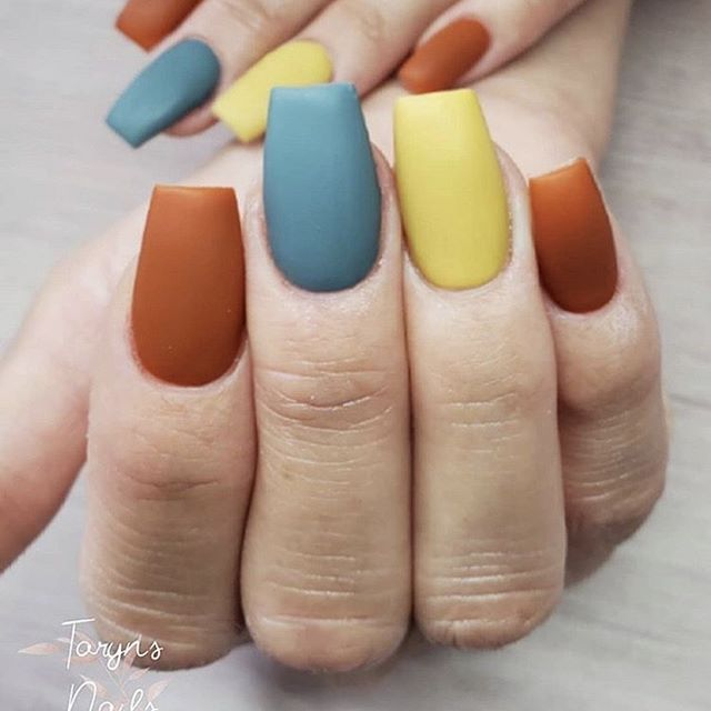 Matte Fall Nails with a Pop