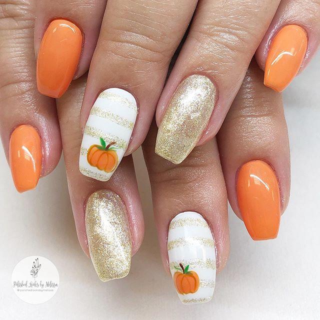 Add an Adorable Pumpkin Accent Nail