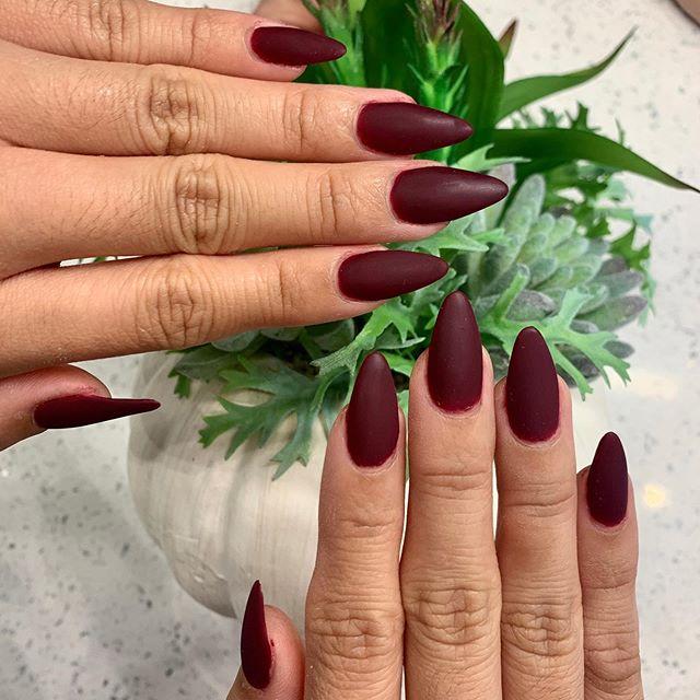 Bold Matte Burgundy Stiletto Nails