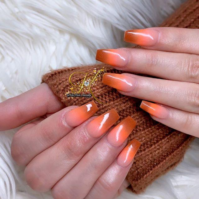 Orange and Brown Gradient Nails