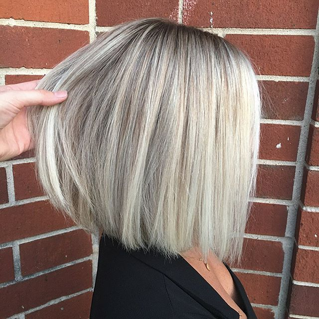 Edgy Inverted Bob in Platinum Blonde