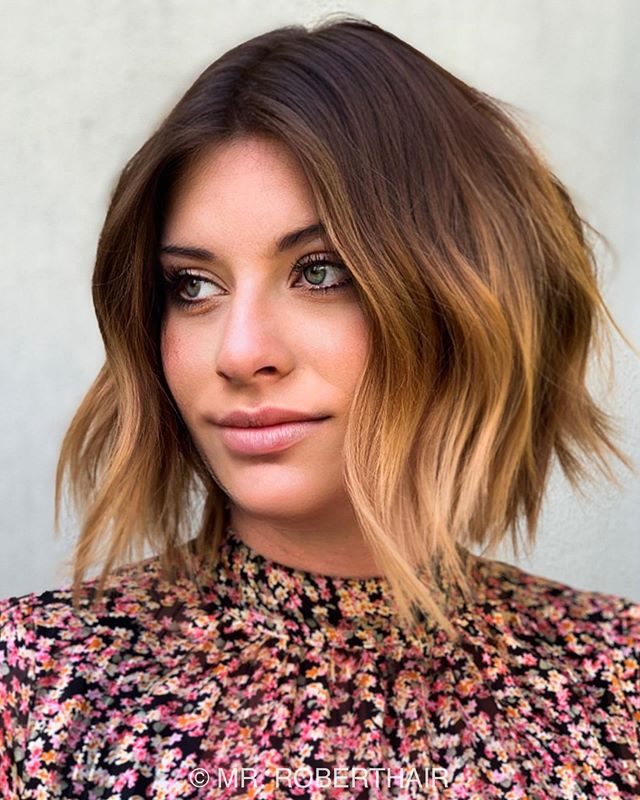 Wavy Bob with Deep Brown to Honey Ombre