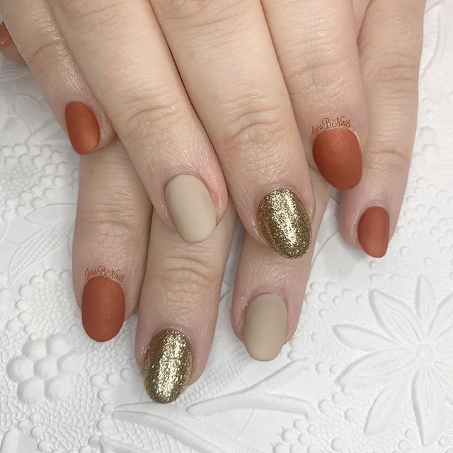 Burnt Orange and Beige with Golden Accent