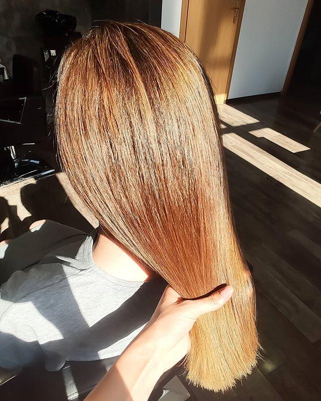Sleek and Long Sun-kissed Honey Blonde