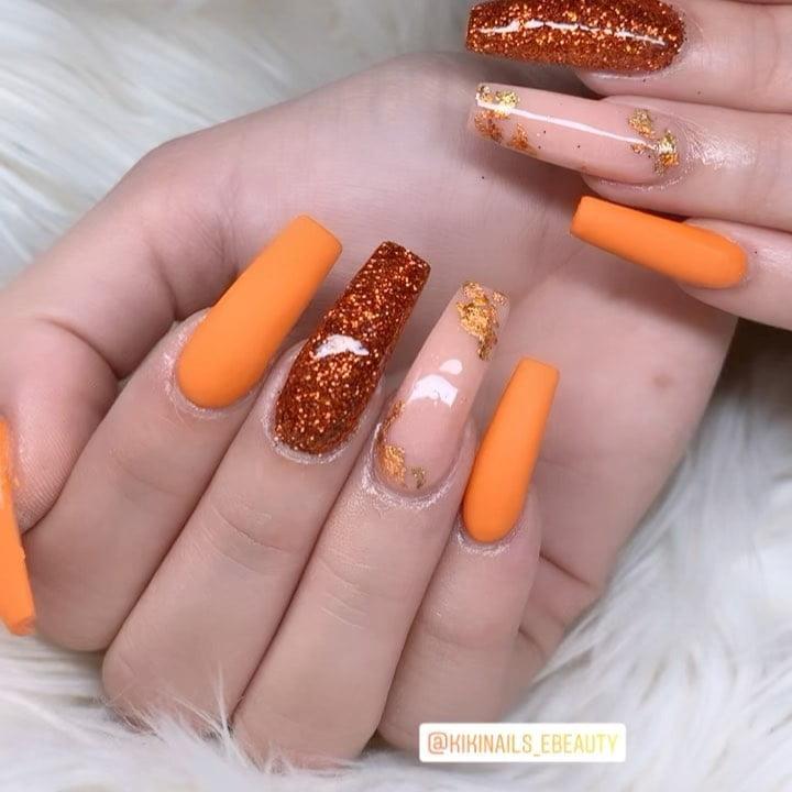 Pumpkin-Orange with Glitter and Gold Leaf