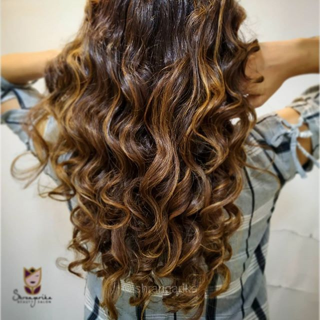 Deep Brown Ring Curls and Honey Brown Highlights