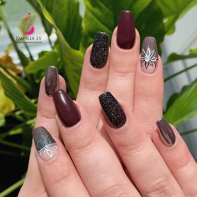 Fabulous Maroon and Grey with Glitter