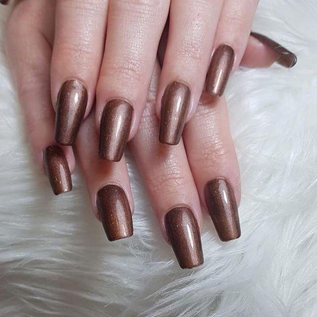 Shimmery Brown Nail Art