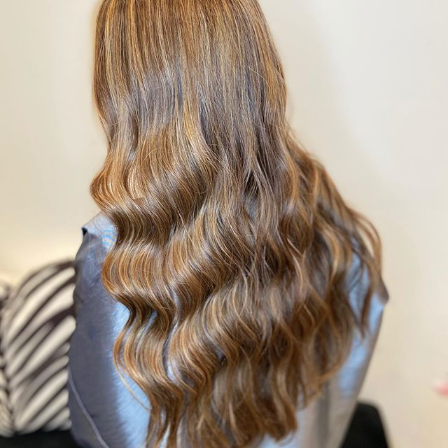 Long and Wavy with Honey Highlights