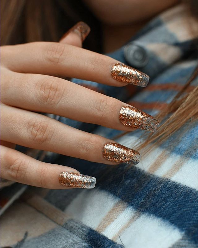 Dazzling Clear to Gold Glitter Gradient