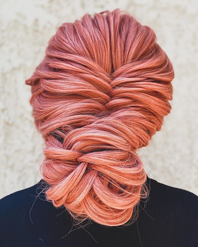 Rose Gold Fishtail Braid Updo