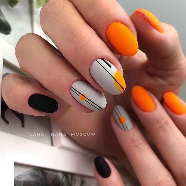Orange and Black Set with Modern Pattern