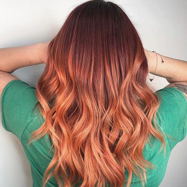 Sleek Honey, Copper, and Red Waves