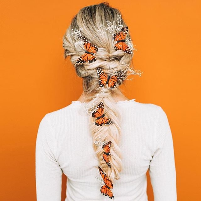 Blonde Butterfly Braid And Baby's Breath
