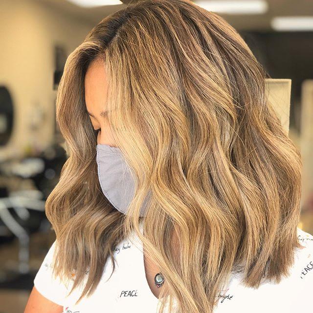 Medium Length Cut with Honey Blonde Waves