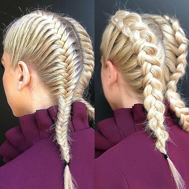 Fishtails With Both Large And Small Braids