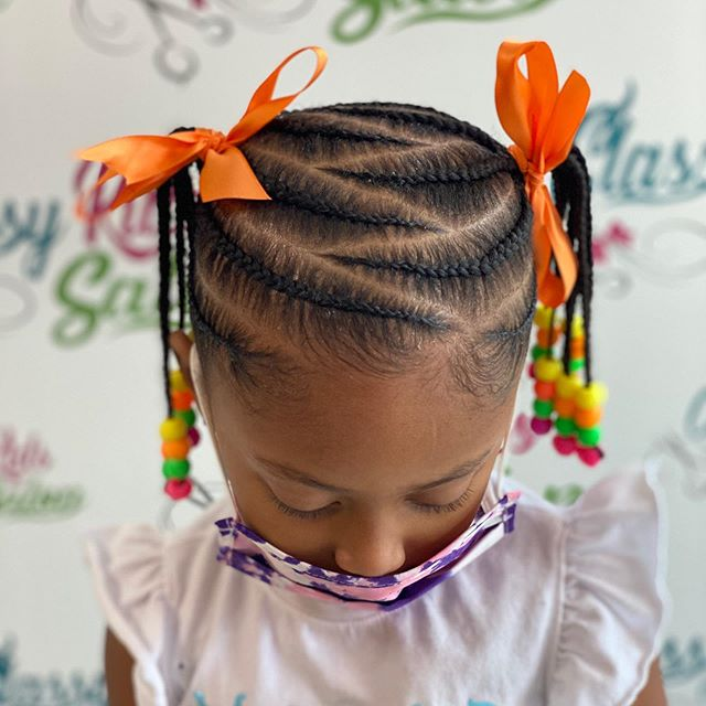 Patterned Best Lemonade Braids With Colorful Ribbons