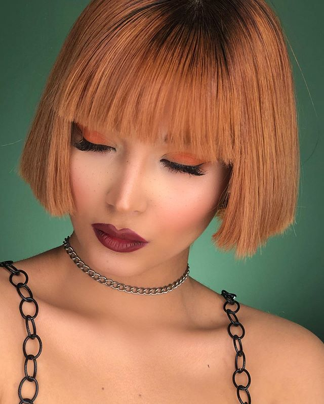 Trendy Short Red Bob With Blunt Bangs