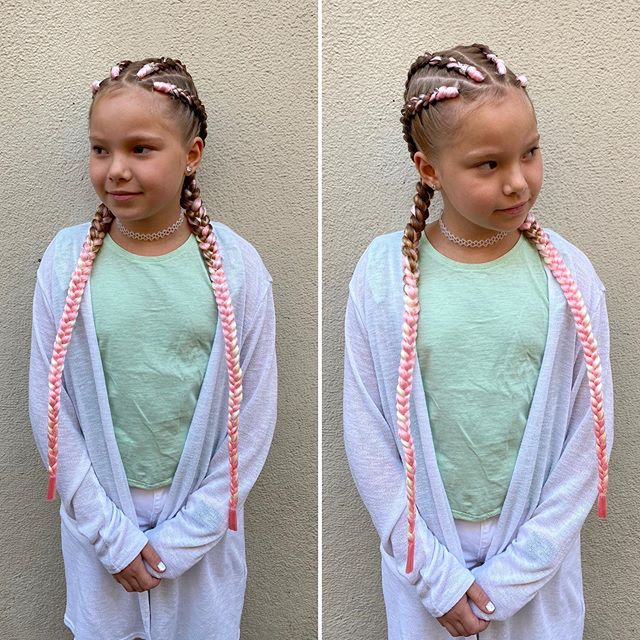 Feed-In Best Cornrow Braids with Cute Pink Extensions