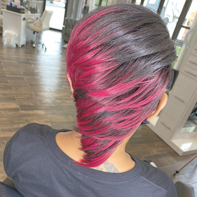 Asymmetrical Pixie With Cherry Red Tips