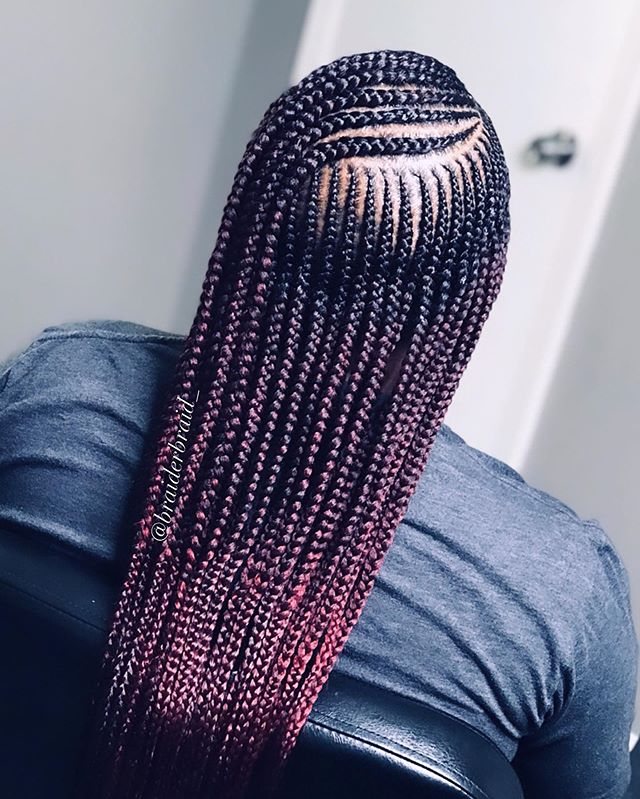 Braids With Side Part And Some Red