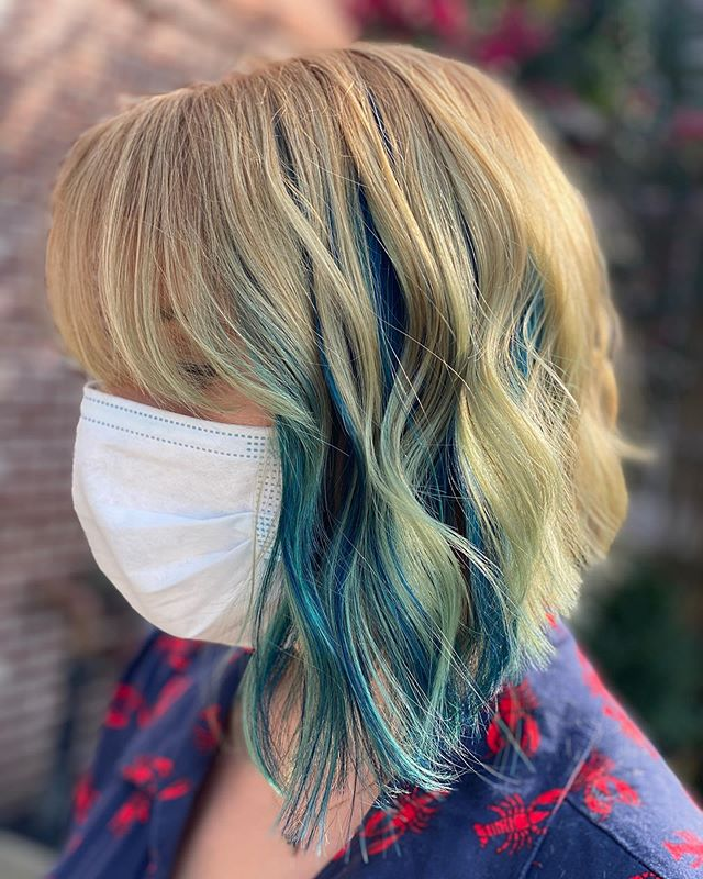 Curly Asymmetrical Bob with Blue Roots and Curtain Bangs