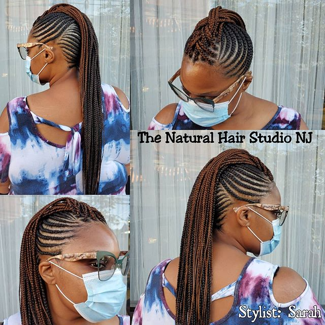 Miniature Cornrows with Loosely Braided Mohawk
