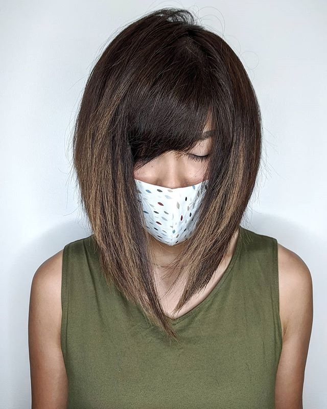 Best Asymmetrical Bob Hairstyle Ideas with Long Bangs