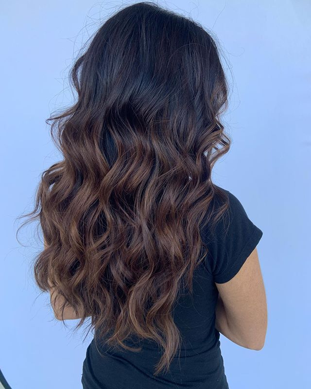 Caramel Dripping Black Hair with Highlights