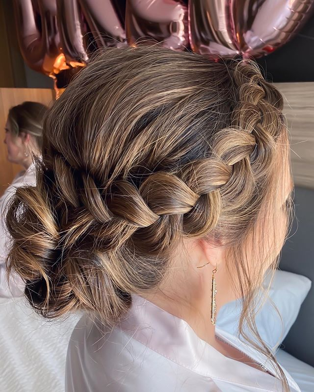 Relaxed Crown Braids with Balayage
