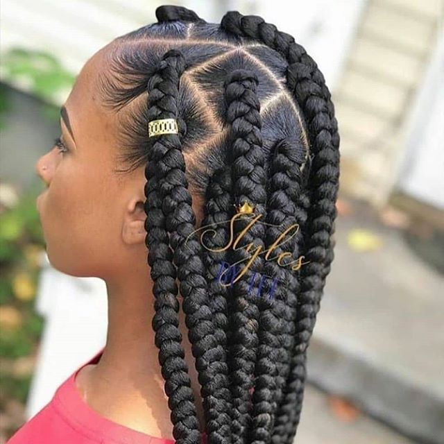 Huge braids with hair accessories