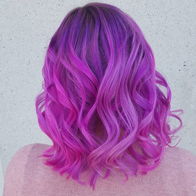 Violet and Fuscia Wavy Bob with Balayage