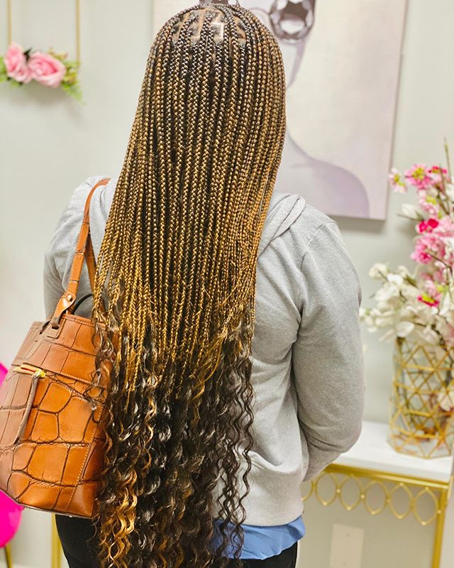 Black-Gold Best Cornrow Braids with Curly Tips