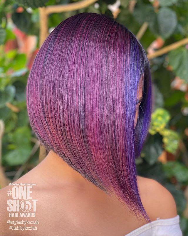Pink and Purple Asymmetrical Hair