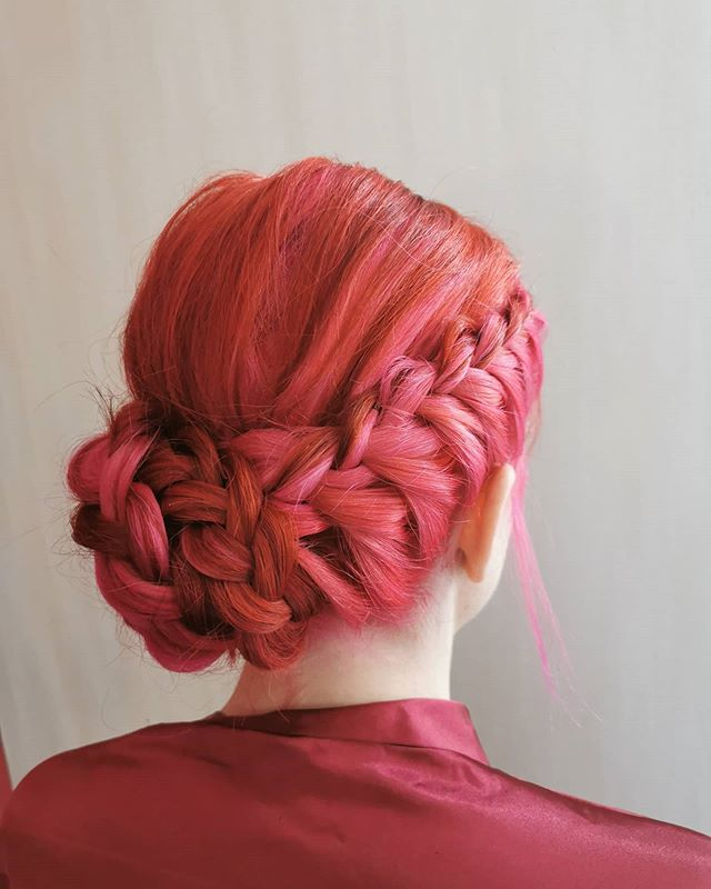 Best Braided Updos and Low Ponytail in Red