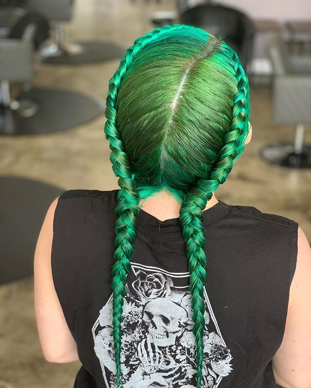 Bright Green Double Plaits