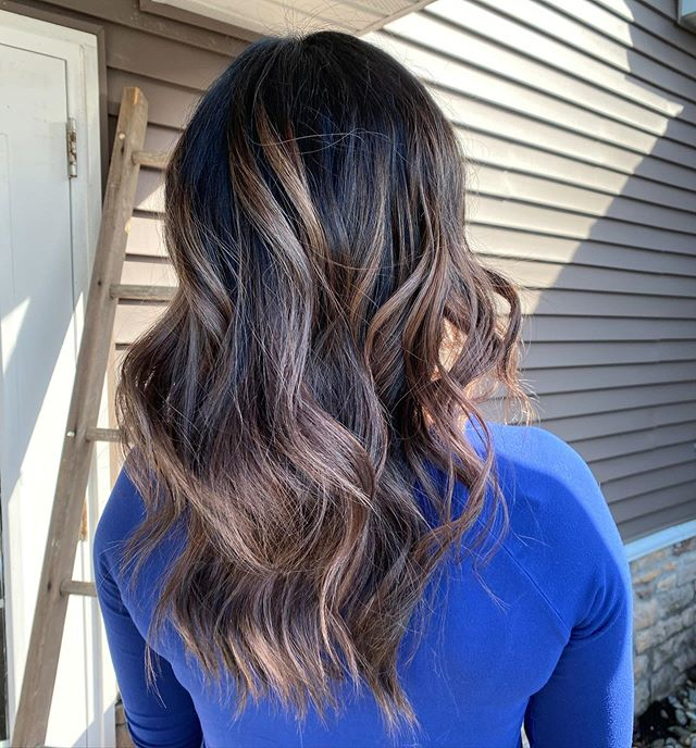 Lovely, Wispy Highlights on Dark Hair