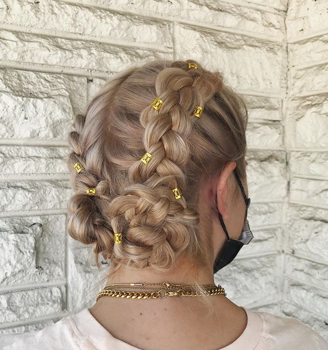 Loose French Braids and Bling