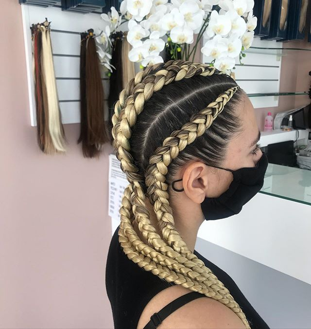 Blonde Goddess Braids with Bold Roots