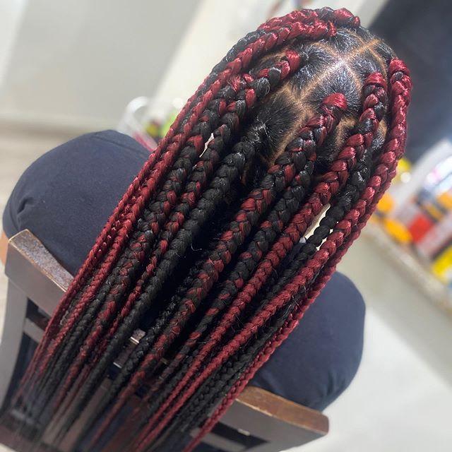 Sexy, red jumbo braids
